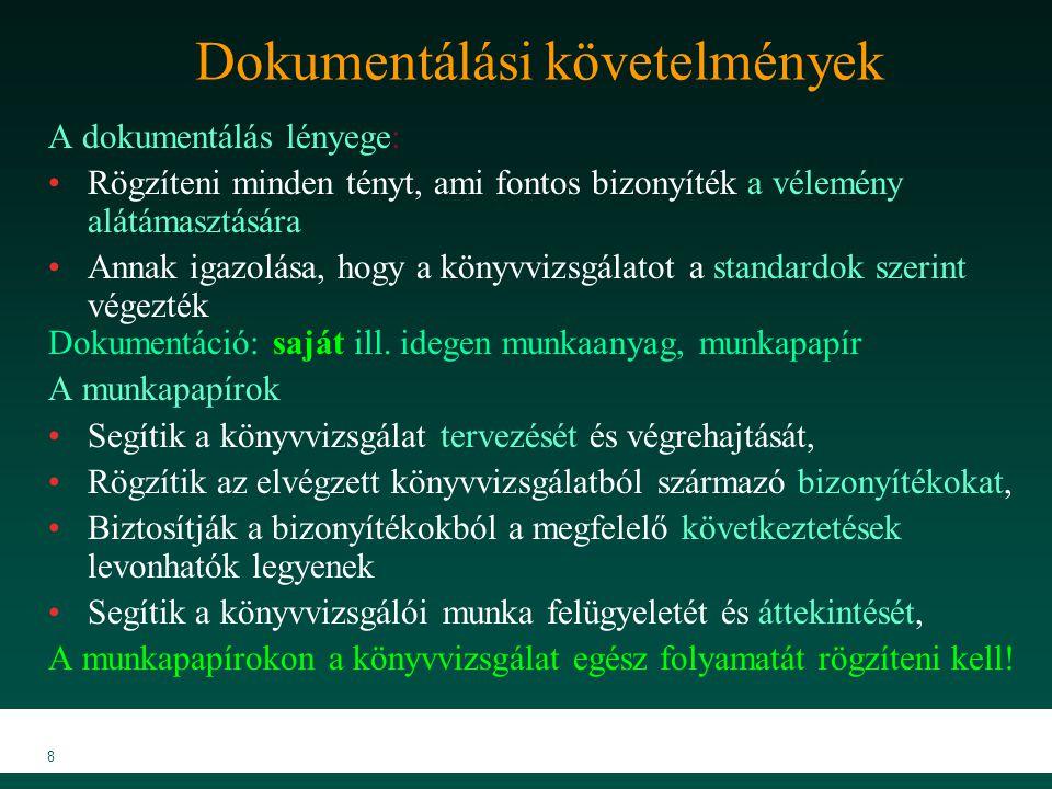 MKVK MEB 2007 8 Dokumentálási követelmények A dokumentálás lényege: Rögzíteni minden tényt, ami fontos bizonyíték a vélemény alátámasztására Annak igazolása, hogy a könyvvizsgálatot a standardok szerint végezték Dokumentáció: saját ill.