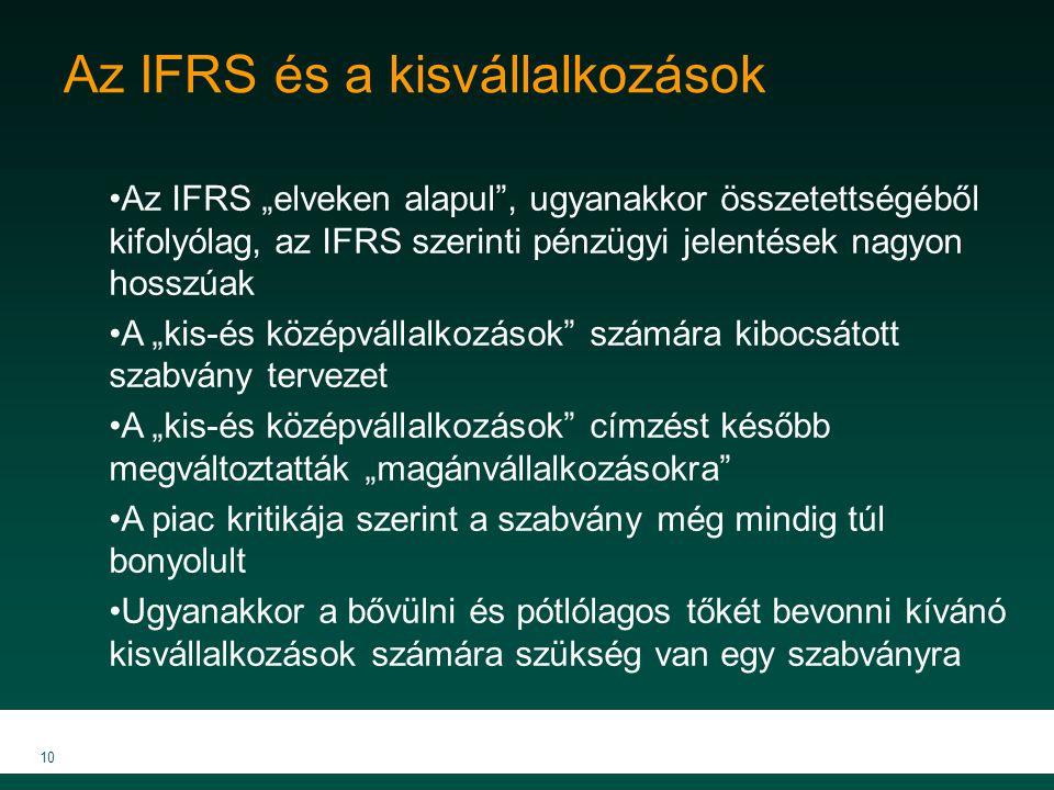 """10 Az IFRS és a kisvállalkozások Az IFRS """"elveken alapul"""", ugyanakkor összetettségéből kifolyólag, az IFRS szerinti pénzügyi jelentések nagyon hosszúa"""