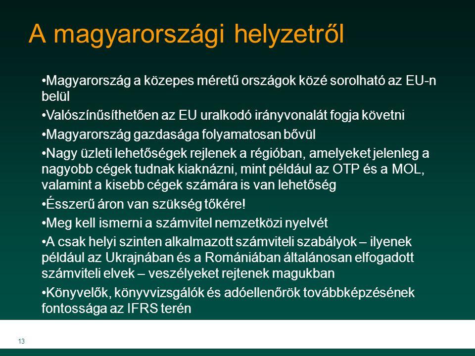 13 A magyarországi helyzetről Magyarország a közepes méretű országok közé sorolható az EU-n belül Valószínűsíthetően az EU uralkodó irányvonalát fogja