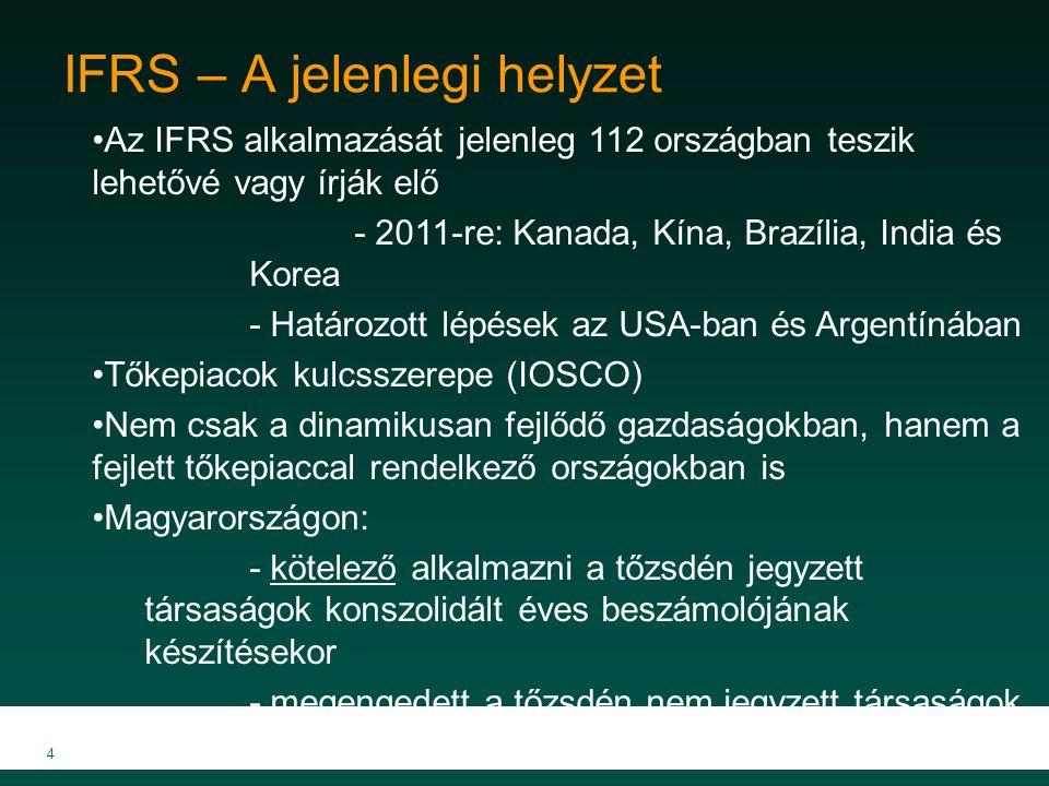 4 IFRS – A jelenlegi helyzet Az IFRS alkalmazását jelenleg 112 országban teszik lehetővé vagy írják elő - 2011-re: Kanada, Kína, Brazília, India és Ko