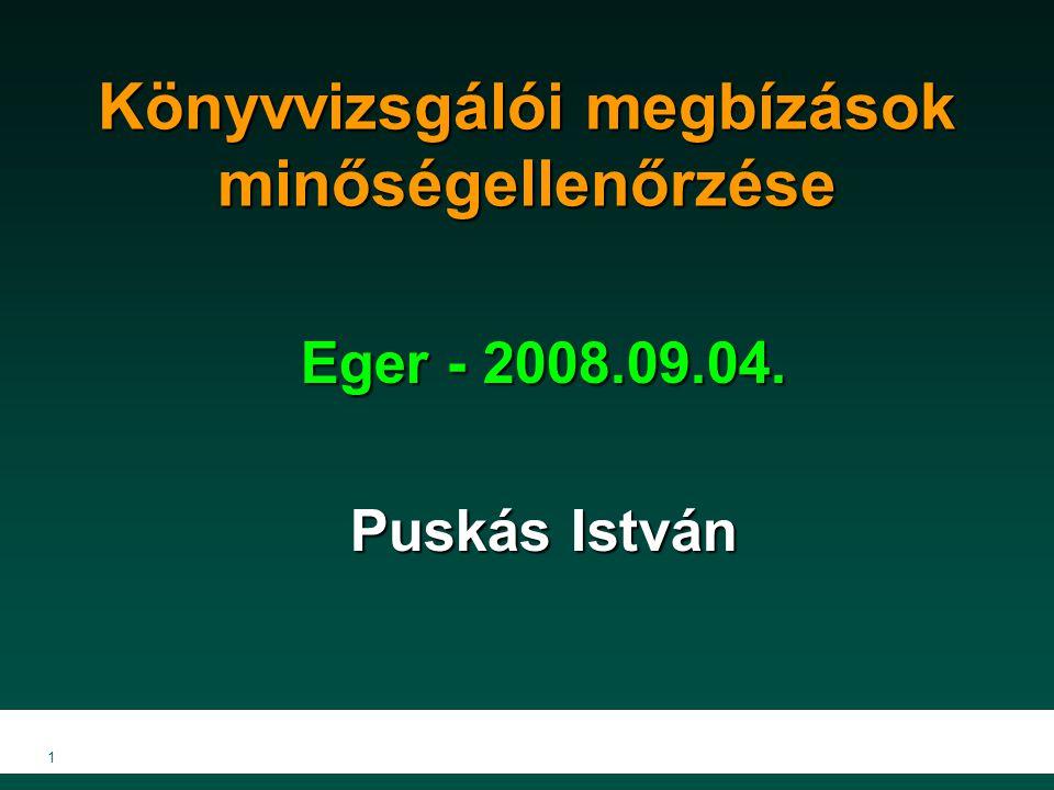 1 Könyvvizsgálói megbízások minőségellenőrzése Eger - 2008.09.04. Puskás István
