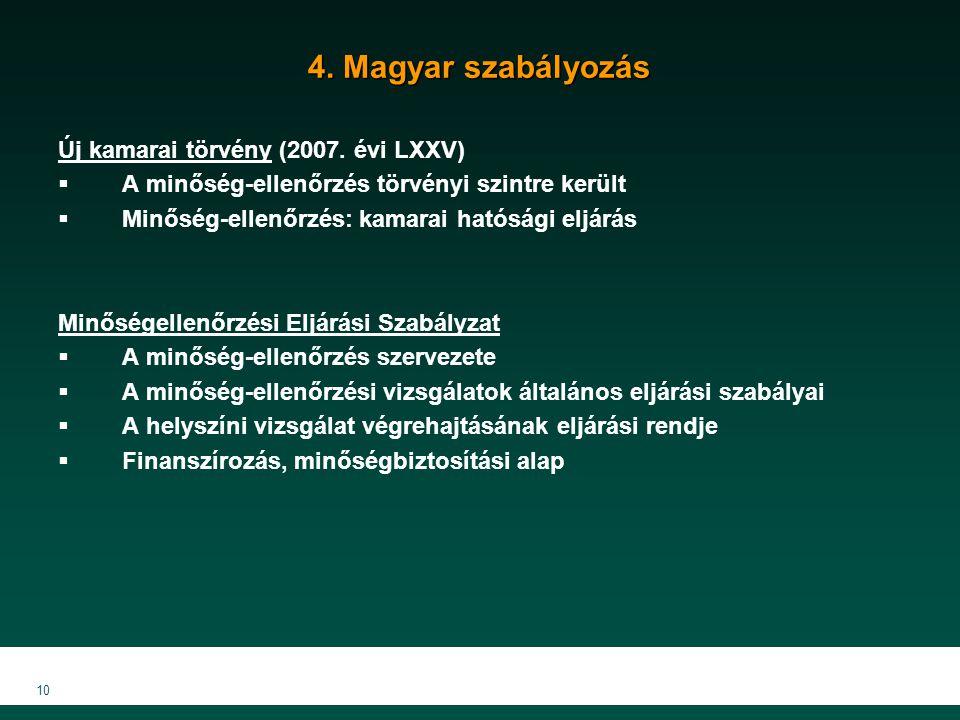 10 4. Magyar szabályozás Új kamarai törvény (2007.