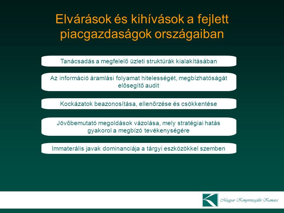 Mozgástér és jövőbeni kihívások a)Audit bázisinformációi b)Teljesítés időpontja c)Vizsgálati módszer d)Tevékenység jellege Jelenleg Éves beszámoló Periodikus Retrospectiv (utólagos) Felülvizsgálat módosítás Jövőben Bármely jellegű információ Folyamatos Valós idejű Információs rendszerek és folyamatok átvilágítása