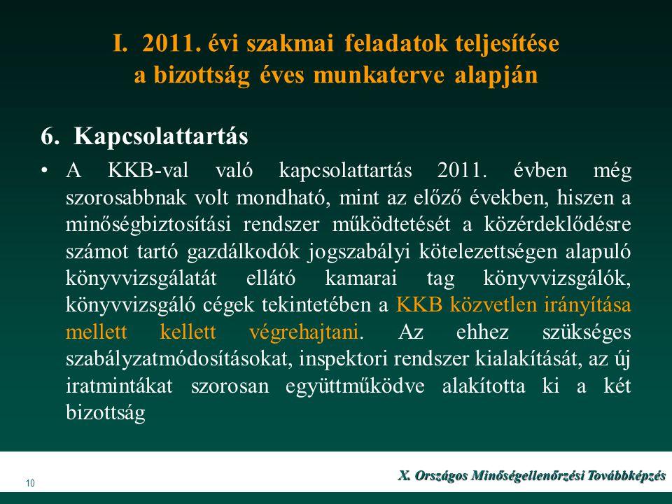 I. 2011. évi szakmai feladatok teljesítése a bizottság éves munkaterve alapján 6. Kapcsolattartás A KKB-val való kapcsolattartás 2011. évben még szoro