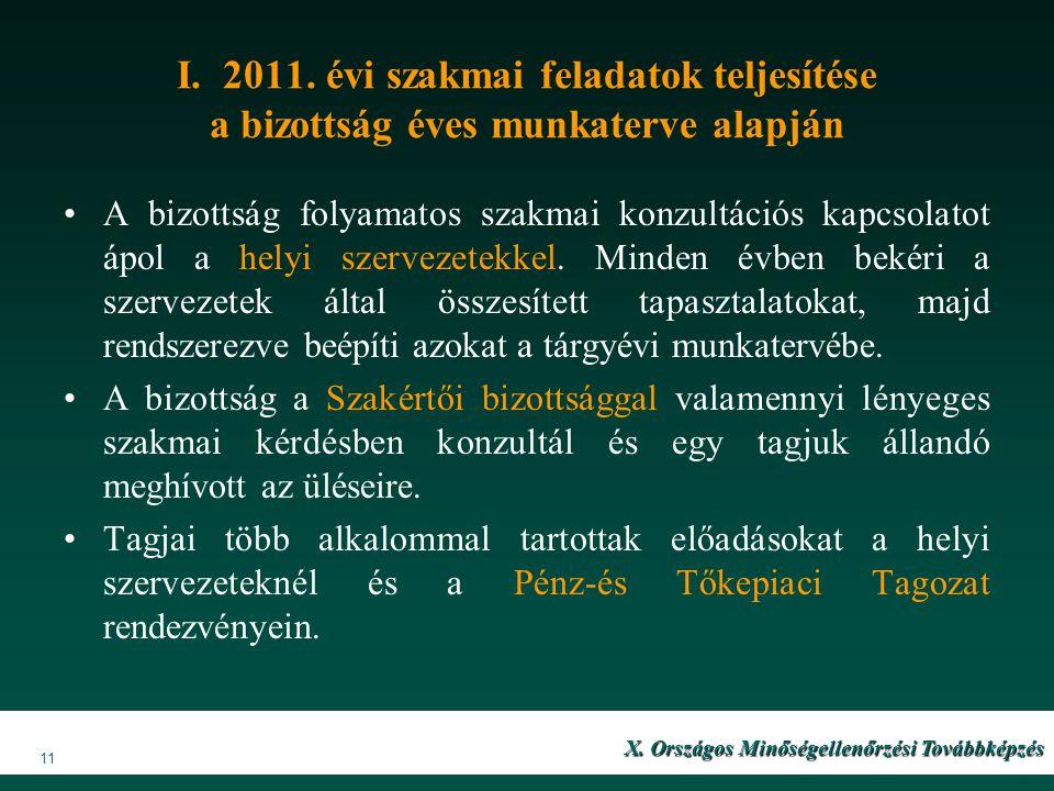 I. 2011. évi szakmai feladatok teljesítése a bizottság éves munkaterve alapján A bizottság folyamatos szakmai konzultációs kapcsolatot ápol a helyi sz