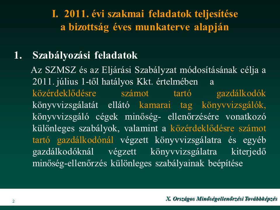 X. Országos Minőségellenőrzési Továbbképzés X. Országos Minőségellenőrzési Továbbképzés 2 I. 2011. évi szakmai feladatok teljesítése a bizottság éves