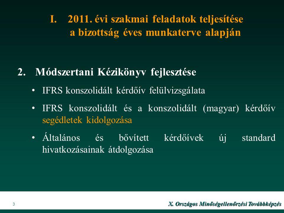 VIII. Országos Minőségellenőrzési Továbbképzés X201 X. Országos Minőségellenőrzési Továbbképzés 3 I.2011. évi szakmai feladatok teljesítése a bizottsá