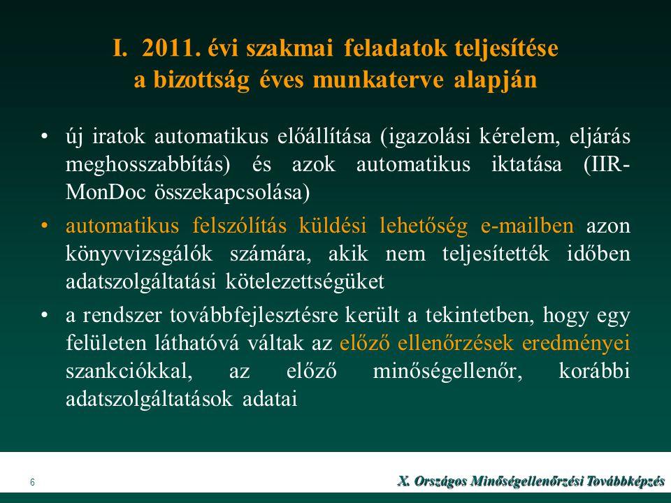 I. 2011. évi szakmai feladatok teljesítése a bizottság éves munkaterve alapján új iratok automatikus előállítása (igazolási kérelem, eljárás meghossza