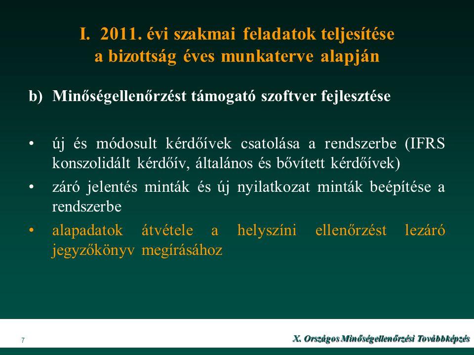 I. 2011. évi szakmai feladatok teljesítése a bizottság éves munkaterve alapján b)Minőségellenőrzést támogató szoftver fejlesztése új és módosult kérdő