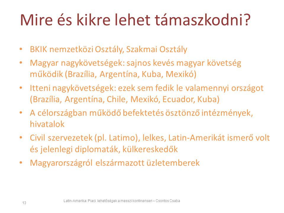 Mire és kikre lehet támaszkodni? Latin-Amerika: Piaci lehetőségek a messzi kontinensen – Csontos Csaba 13 BKIK nemzetközi Osztály, Szakmai Osztály Mag