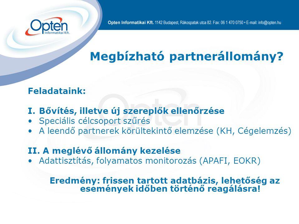 Megbízható partnerállomány.