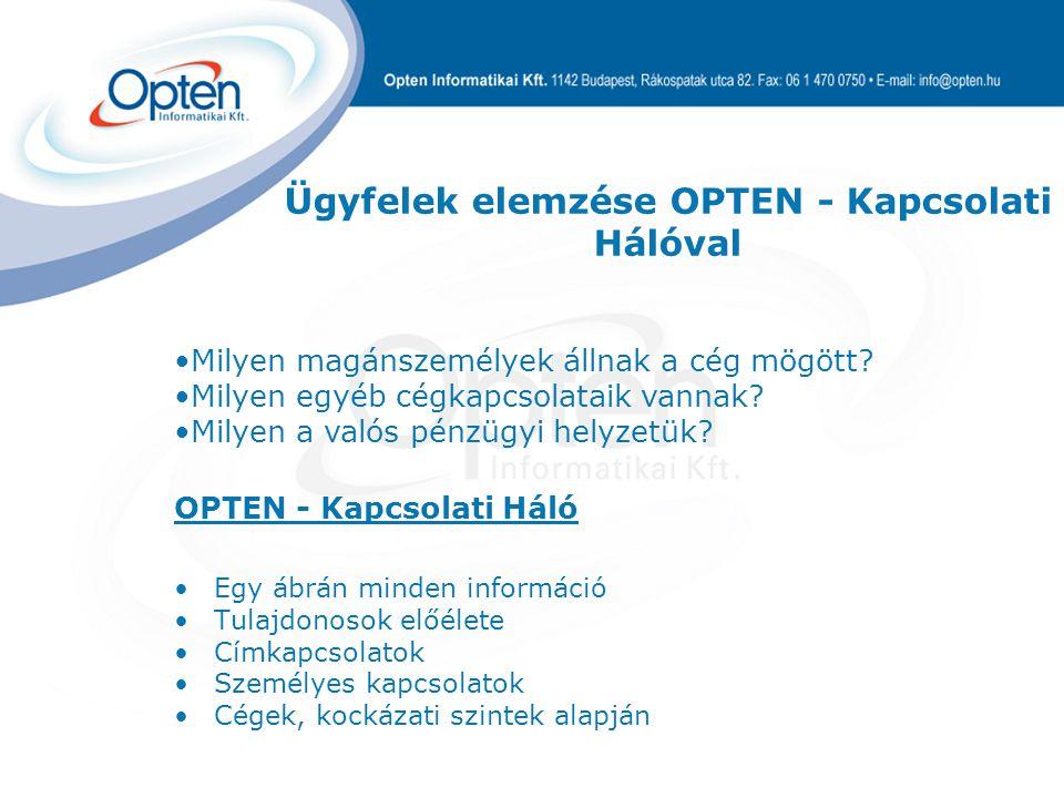OPTEN - Kapcsolati Háló Egy ábrán minden információ Tulajdonosok előélete Címkapcsolatok Személyes kapcsolatok Cégek, kockázati szintek alapján Milyen magánszemélyek állnak a cég mögött.