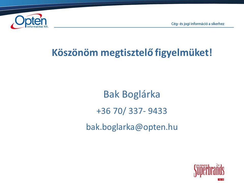 Köszönöm megtisztelő figyelmüket! Bak Boglárka +36 70/ 337- 9433 bak.boglarka@opten.hu