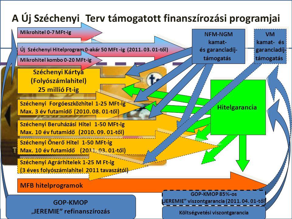 A Új Széchenyi Terv támogatott finanszírozási programjai Mikrohitel 0-7 MFt-ig JEREMIE Mikrohitel 0-10 MFt -ig MFB hitelprogramok Széchenyi Kártya (Folyószámlahitel) 25 millió Ft-ig Széchenyi Kártya (Folyószámlahitel) 25 millió Ft-ig Széchenyi Forgóeszközhitel 1-25 MFt-ig Max.