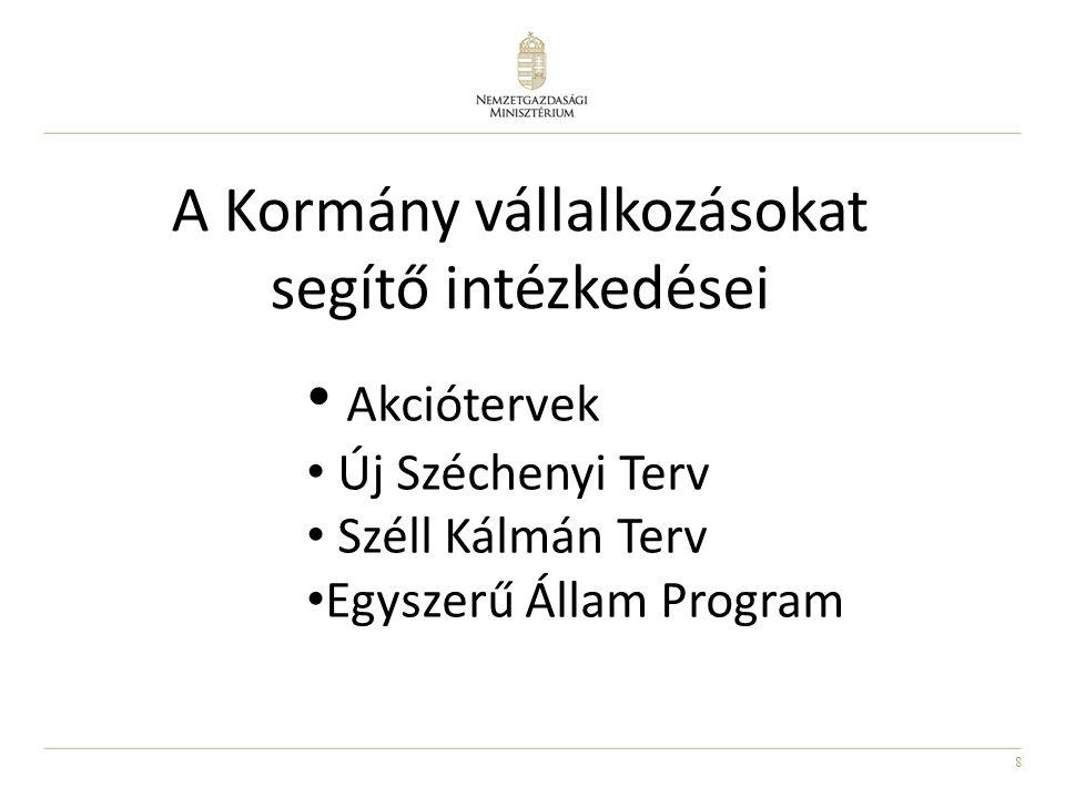 8 A Kormány vállalkozásokat segítő intézkedései Akciótervek Új Széchenyi Terv Széll Kálmán Terv Egyszerű Állam Program