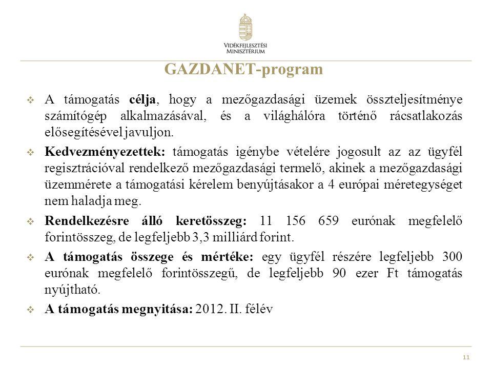 11 GAZDANET-program  A támogatás célja, hogy a mezőgazdasági üzemek összteljesítménye számítógép alkalmazásával, és a világhálóra történő rácsatlakozás elősegítésével javuljon.