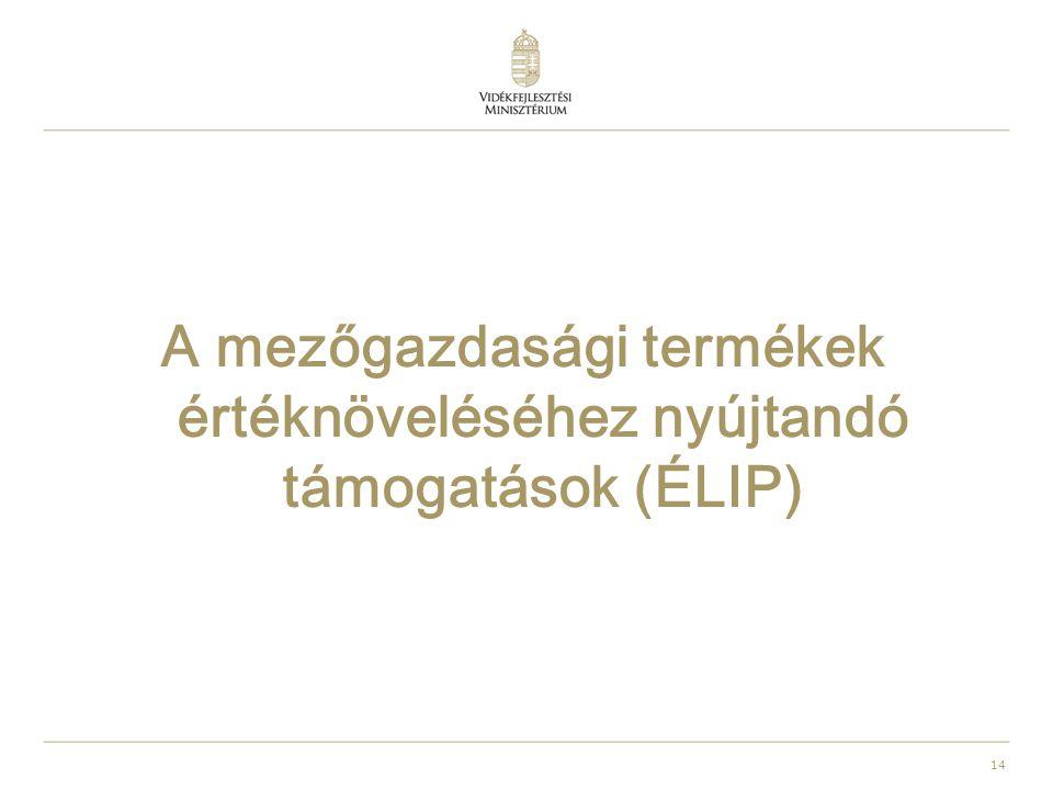 14 A mezőgazdasági termékek értéknöveléséhez nyújtandó támogatások (ÉLIP)