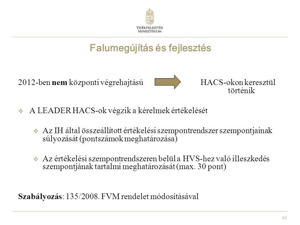 63 Falumegújítás és fejlesztés 2012-ben nem központi végrehajtású HACS-okon keresztül történik  A LEADER HACS-ok végzik a kérelmek értékelését  Az IH által összeállított értékelési szempontrendszer szempontjainak súlyozását (pontszámok meghatározása)  Az értékelési szempontrendszeren belül a HVS-hez való illeszkedés szempontjának tartalmi meghatározását (max.