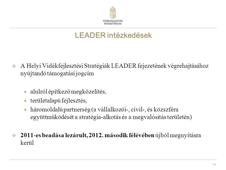 74 LEADER intézkedések  A Helyi Vidékfejlesztési Stratégiák LEADER fejezetének végrehajtásához nyújtandó támogatási jogcím  alulról építkező megközelítés,  területalapú fejlesztés,  háromoldalú partnerség (a vállalkozói-, civil-, és közszféra együttműködését a stratégia-alkotás és a megvalósítás területén)  2011-es beadása lezárult, 2012.