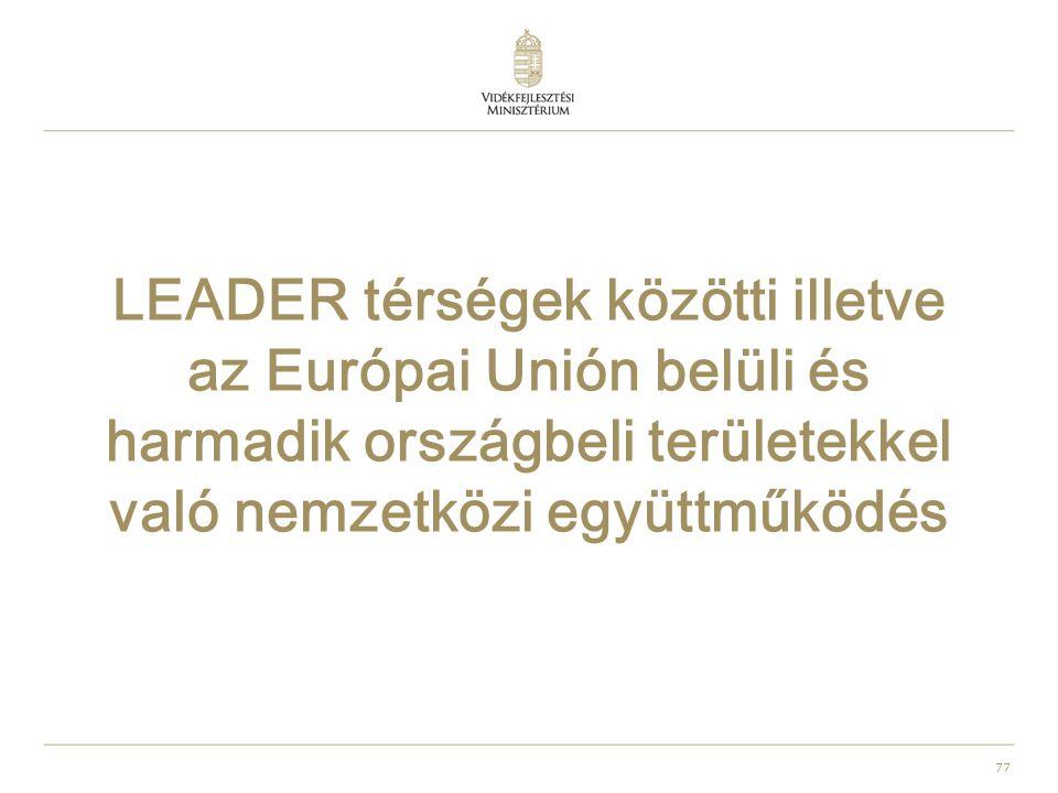 77 LEADER térségek közötti illetve az Európai Unión belüli és harmadik országbeli területekkel való nemzetközi együttműködés