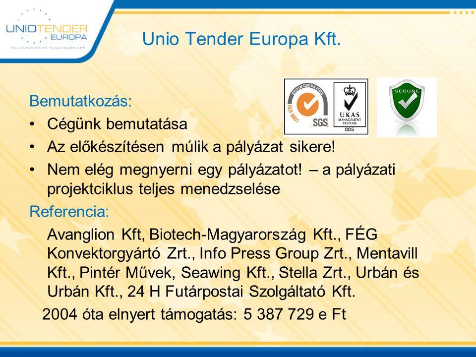 Unio Tender Europa Kft. Bemutatkozás: Cégünk bemutatása Az előkészítésen múlik a pályázat sikere! Nem elég megnyerni egy pályázatot! – a pályázati pro