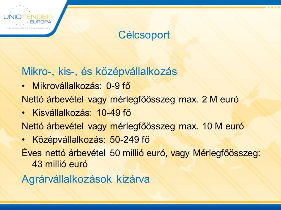 Célcsoport Mikro-, kis-, és középvállalkozás Mikrovállalkozás: 0-9 fő Nettó árbevétel vagy mérlegfőösszeg max. 2 M euró Kisvállalkozás: 10-49 fő Nettó