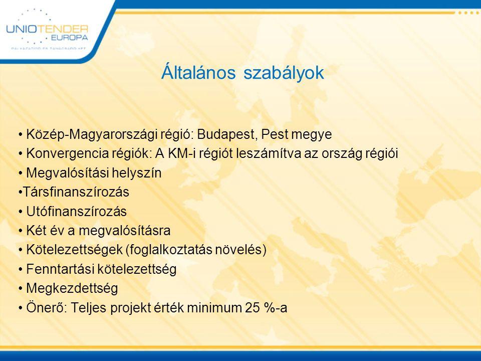 Általános szabályok Közép-Magyarországi régió: Budapest, Pest megye Konvergencia régiók: A KM-i régiót leszámítva az ország régiói Megvalósítási helyszín Társfinanszírozás Utófinanszírozás Két év a megvalósításra Kötelezettségek (foglalkoztatás növelés) Fenntartási kötelezettség Megkezdettség Önerő: Teljes projekt érték minimum 25 %-a