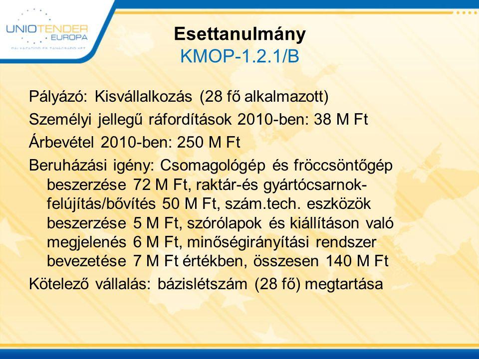 Esettanulmány KMOP-1.2.1/B Összköltség140 M Ft Támogatási intenzitás35 % Támogatás összege49 M Ft Vállalás a)szjr növelése a TÁMOGATÁS 5 %-ával + 2,45 M Ft Vállalás b) szjr növelése 5 %-kal+ 1,9 M Ft