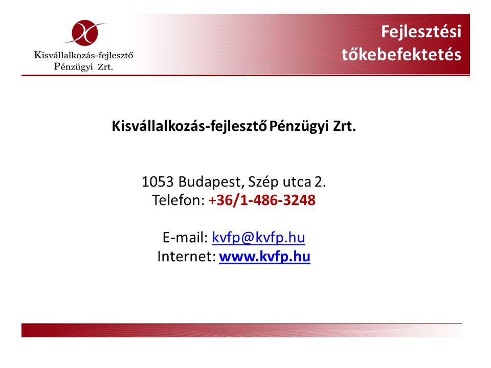 Kisvállalkozás-fejlesztő Pénzügyi Zrt. 1053 Budapest, Szép utca 2.