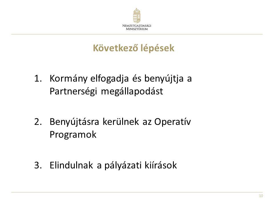 10 Következő lépések 1.Kormány elfogadja és benyújtja a Partnerségi megállapodást 2.Benyújtásra kerülnek az Operatív Programok 3.Elindulnak a pályázat