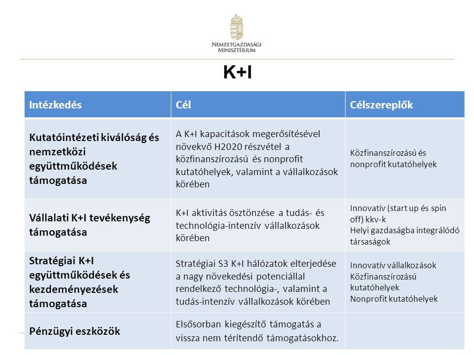 16 IntézkedésCélCélszereplők Kutatóintézeti kiválóság és nemzetközi együttműködések támogatása A K+I kapacitások megerősítésével növekvő H2020 részvétel a közfinanszírozású és nonprofit kutatóhelyek, valamint a vállalkozások körében Közfinanszírozású és nonprofit kutatóhelyek Vállalati K+I tevékenység támogatása K+I aktivitás ösztönzése a tudás- és technológia-intenzív vállalkozások körében Innovatív (start up és spin off) kkv-k Helyi gazdaságba integrálódó társaságok Stratégiai K+I együttműködések és kezdeményezések támogatása Stratégiai S3 K+I hálózatok elterjedése a nagy növekedési potenciállal rendelkező technológia-, valamint a tudás-intenzív vállalkozások körében Innovatív vállalkozások Közfinanszírozású kutatóhelyek Nonprofit kutatóhelyek Pénzügyi eszközök Elsősorban kiegészítő támogatás a vissza nem térítendő támogatásokhoz.