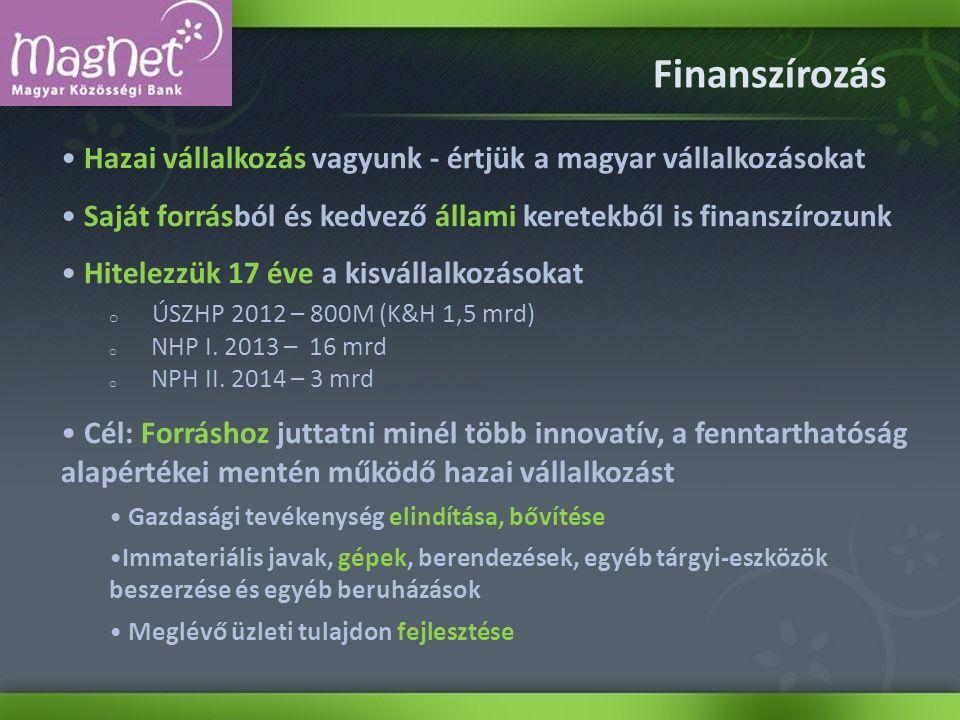 Finanszírozás Hazai vállalkozás vagyunk - értjük a magyar vállalkozásokat Saját forrásból és kedvező állami keretekből is finanszírozunk Hitelezzük 17 éve a kisvállalkozásokat o ÚSZHP 2012 – 800M (K&H 1,5 mrd) o NHP I.