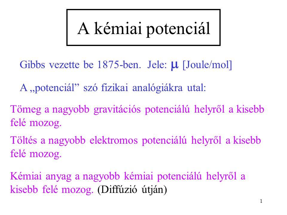 """1 A kémiai potenciál Gibbs vezette be 1875-ben. Jele:  [Joule/mol] A """"potenciál"""" szó fizikai analógiákra utal: Tömeg a nagyobb gravitációs potenciálú"""