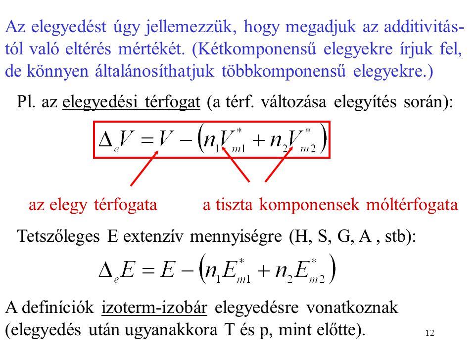12 Az elegyedést úgy jellemezzük, hogy megadjuk az additivitás- tól való eltérés mértékét. (Kétkomponensű elegyekre írjuk fel, de könnyen általánosíth