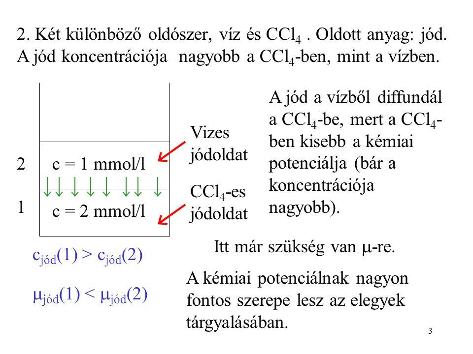 3 2. Két különböző oldószer, víz és CCl 4. Oldott anyag: jód. A jód koncentrációja nagyobb a CCl 4 -ben, mint a vízben. c = 1 mmol/l c = 2 mmol/l 1 2
