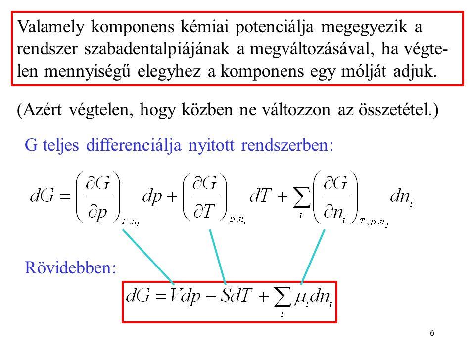 6 Valamely komponens kémiai potenciálja megegyezik a rendszer szabadentalpiájának a megváltozásával, ha végte- len mennyiségű elegyhez a komponens egy