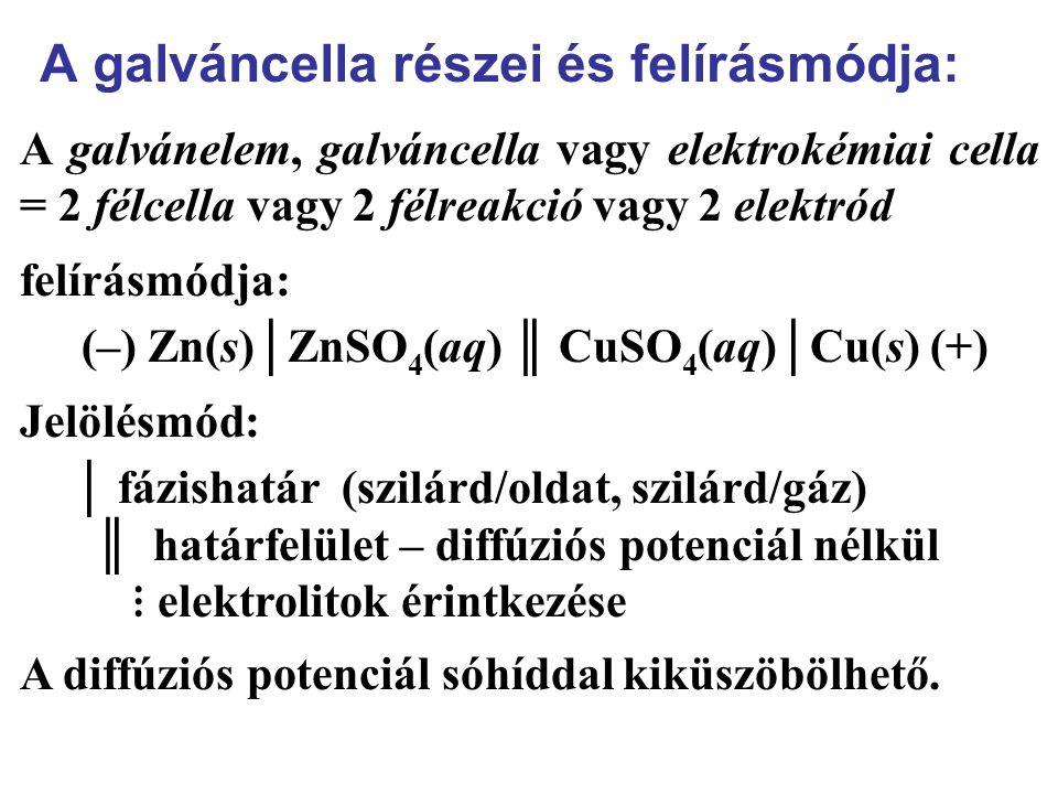 A galváncella részei és felírásmódja: A galvánelem, galváncella vagy elektrokémiai cella = 2 félcella vagy 2 félreakció vagy 2 elektród felírásmódja: (–) Zn(s)│ZnSO 4 (aq) ║ CuSO 4 (aq)│Cu(s) (+) Jelölésmód: │ fázishatár (szilárd/oldat, szilárd/gáz) ║ határfelület – diffúziós potenciál nélkül ⋮ elektrolitok érintkezése A diffúziós potenciál sóhíddal kiküszöbölhető.