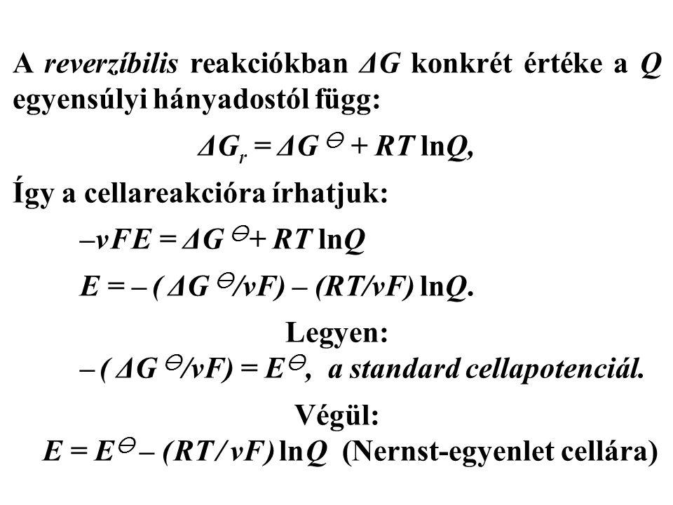 A reverzíbilis reakciókban ΔG konkrét értéke a Q egyensúlyi hányadostól függ: ΔG r = ΔG  + RT lnQ, Így a cellareakcióra írhatjuk: –ν F E = ΔG  + RT lnQ E = – ( ΔG  /νF) – (RT/νF) lnQ.