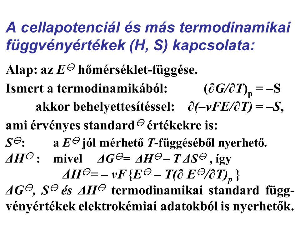 A cellapotenciál és más termodinamikai függvényértékek (H, S) kapcsolata: Alap: az E  hőmérséklet-függése.