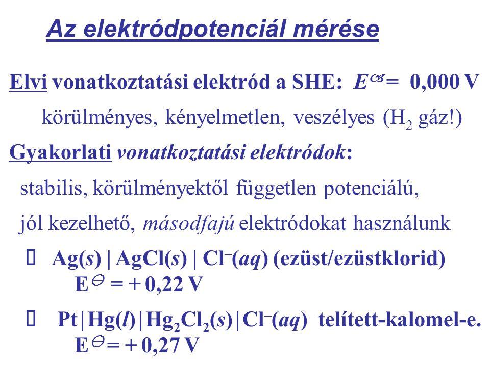 Az elektródpotenciál mérése Elvi vonatkoztatási elektród a SHE: E  = 0,000 V körülményes, kényelmetlen, veszélyes (H 2 gáz!) Gyakorlati vonatkoztatási elektródok: stabilis, körülményektől független potenciálú, jól kezelhető, másodfajú elektródokat használunk  Ag(s) | AgCl(s) | Cl – (aq) (ezüst/ezüstklorid) E  = + 0,22 V  Pt | Hg(l) | Hg 2 Cl 2 (s) | Cl – (aq) telített-kalomel-e.