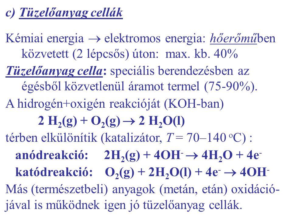 c) Tüzelőanyag cellák Kémiai energia  elektromos energia: hőerőműben közvetett (2 lépcsős) úton: max.
