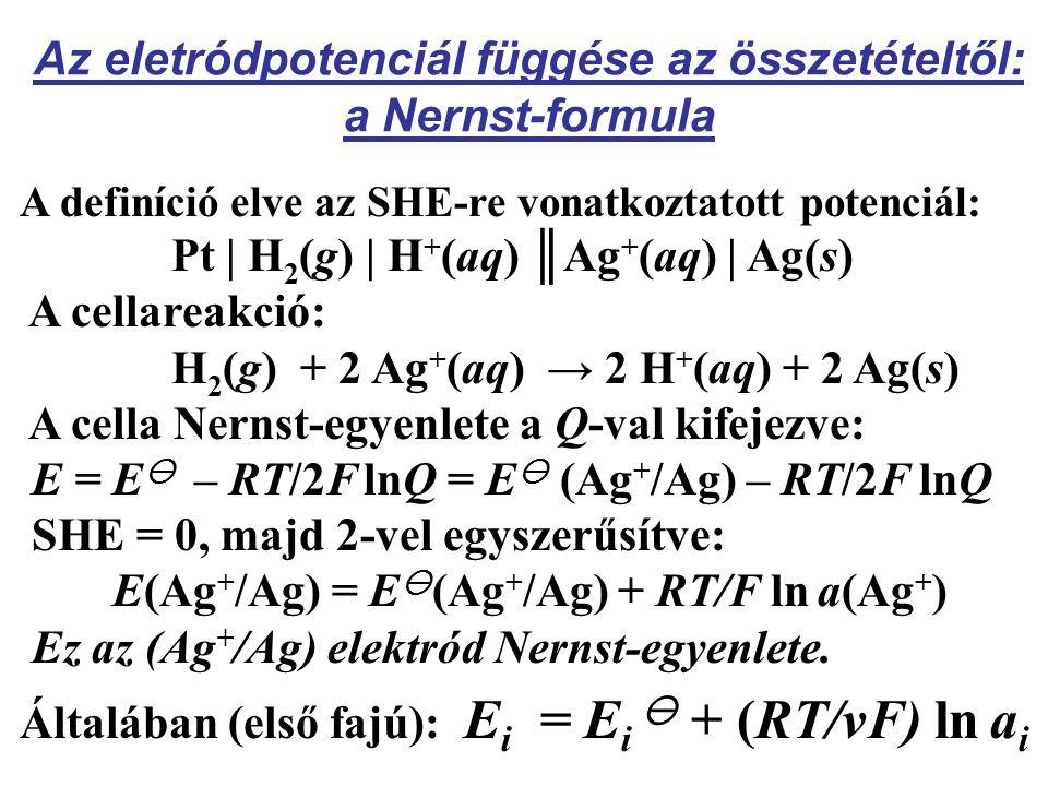 Az eletródpotenciál függése az összetételtől: a Nernst-formula A definíció elve az SHE-re vonatkoztatott potenciál: Pt | H 2 (g) | H + (aq) ║Ag + (aq) | Ag(s) A cellareakció: H 2 (g) + 2 Ag + (aq) → 2 H + (aq) + 2 Ag(s) A cella Nernst-egyenlete a Q-val kifejezve: E = E  – RT/2F lnQ = E  (Ag + /Ag) – RT/2F lnQ SHE = 0, majd 2-vel egyszerűsítve: E(Ag + /Ag) = E  (Ag + /Ag) + RT/F ln a(Ag + ) Ez az (Ag + /Ag) elektród Nernst-egyenlete.