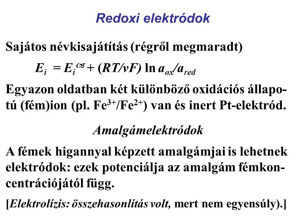 Redoxi elektródok Sajátos névkisajátítás (régről megmaradt) E i = E i  + (RT/νF) ln a ox /a red Egyazon oldatban két különböző oxidációs állapo- tú (fém)ion (pl.
