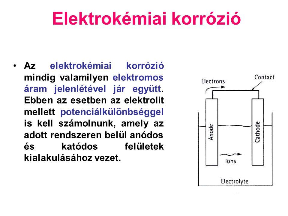 Elektrokémiai korrózió Az elektrokémiai korrózió mindig valamilyen elektromos áram jelenlétével jár együtt.