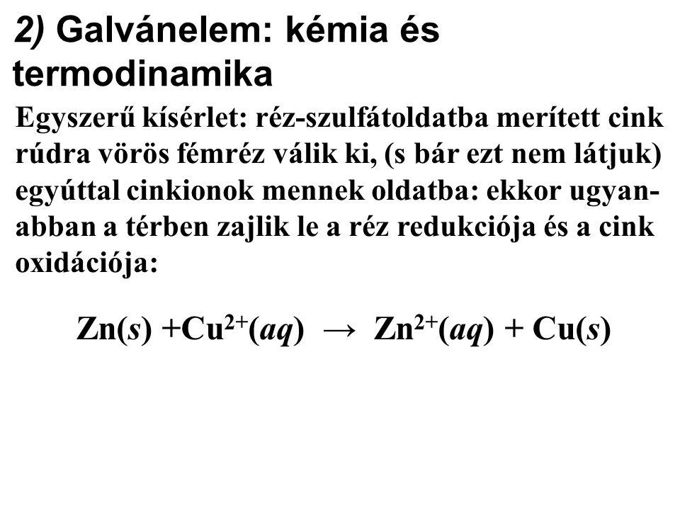 2) Galvánelem: kémia és termodinamika Egyszerű kísérlet: réz-szulfátoldatba merített cink rúdra vörös fémréz válik ki, (s bár ezt nem látjuk) egyúttal cinkionok mennek oldatba: ekkor ugyan- abban a térben zajlik le a réz redukciója és a cink oxidációja: Zn(s) +Cu 2+ (aq) → Zn 2+ (aq) + Cu(s)
