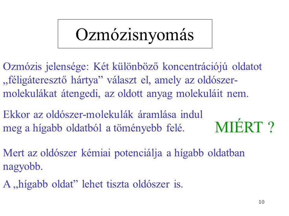"""10 Ozmózisnyomás Ozmózis jelensége: Két különböző koncentrációjú oldatot """"féligáteresztő hártya"""" választ el, amely az oldószer- molekulákat átengedi,"""