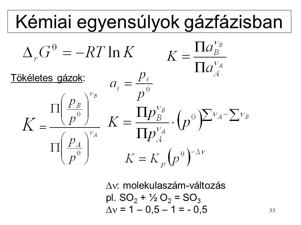 33 Kémiai egyensúlyok gázfázisban Tökéletes gázok:  : molekulaszám-változás pl. SO 2 + ½ O 2 = SO 3  = 1 – 0,5 – 1 = - 0,5