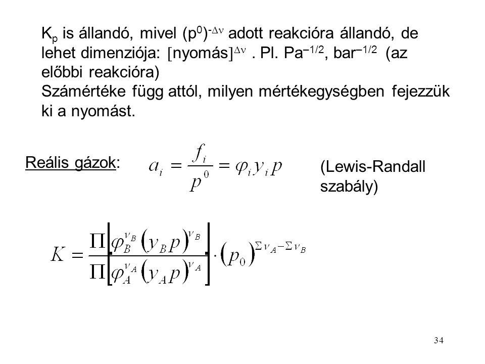 34 K p is állandó, mivel (p 0 ) -  adott reakcióra állandó, de lehet dimenziója:  nyomás  . Pl. Pa –1/2, bar –1/2 (az előbbi reakcióra) Számértéke