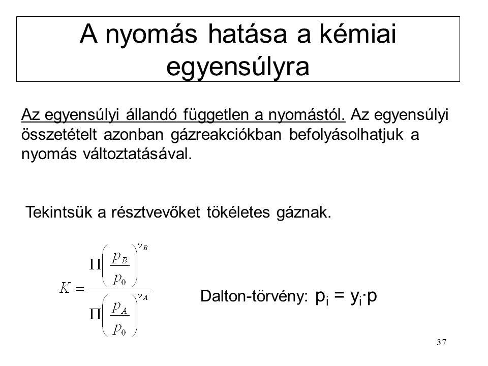 37 A nyomás hatása a kémiai egyensúlyra Az egyensúlyi állandó független a nyomástól. Az egyensúlyi összetételt azonban gázreakciókban befolyásolhatjuk