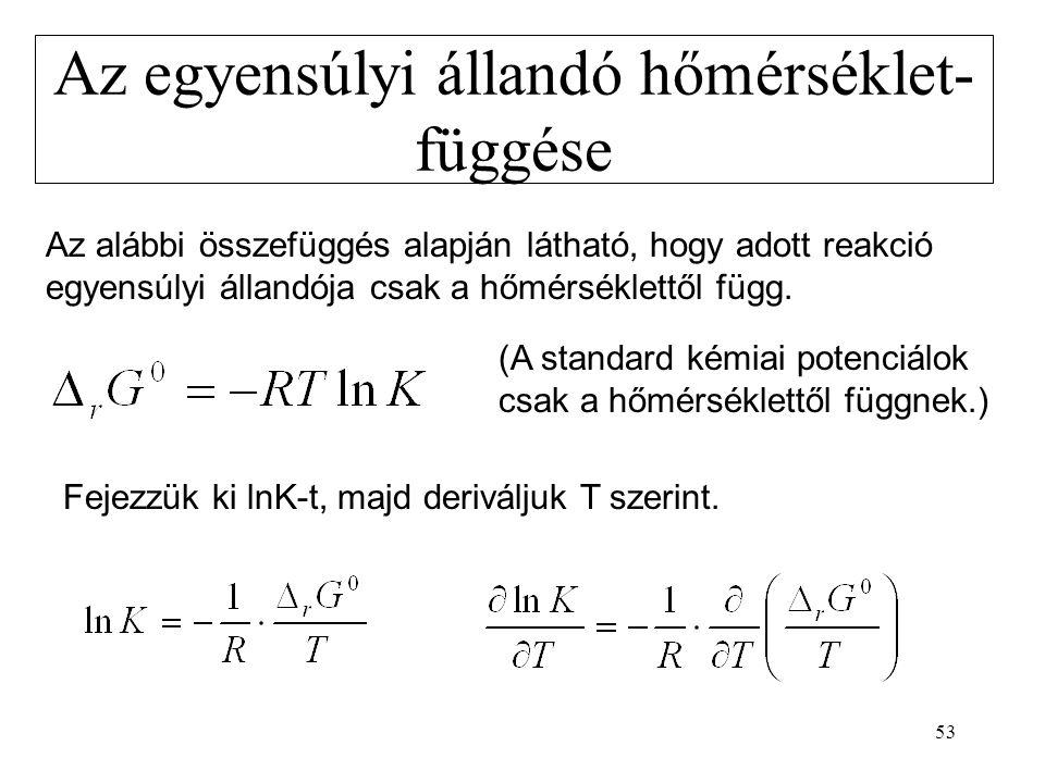 53 Az egyensúlyi állandó hőmérséklet- függése Az alábbi összefüggés alapján látható, hogy adott reakció egyensúlyi állandója csak a hőmérséklettől füg